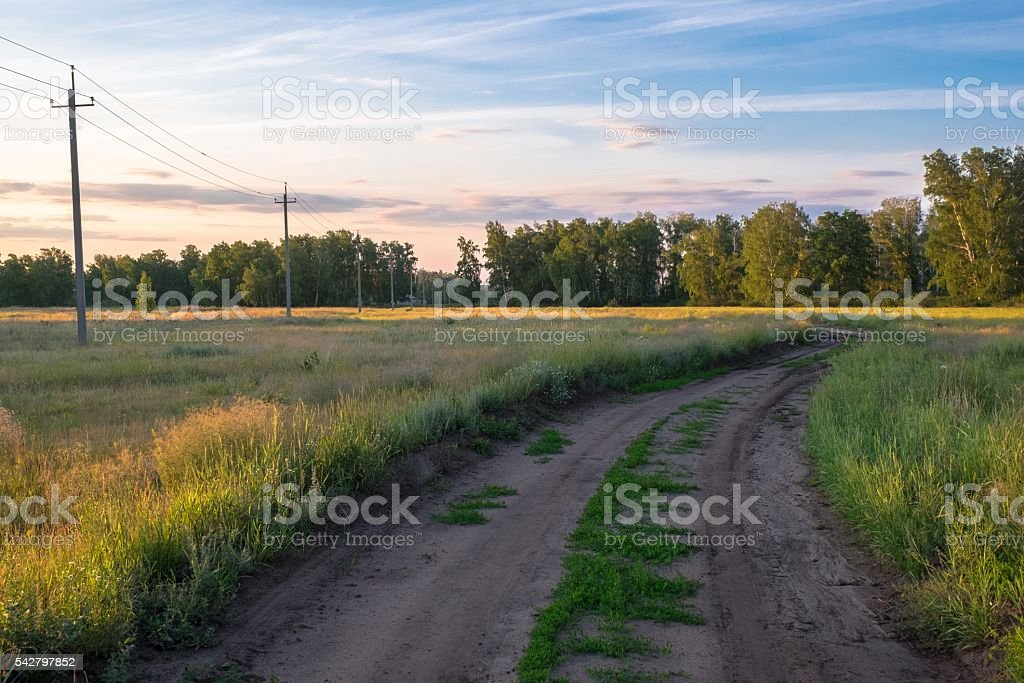 Voltage poles in the village stock photo
