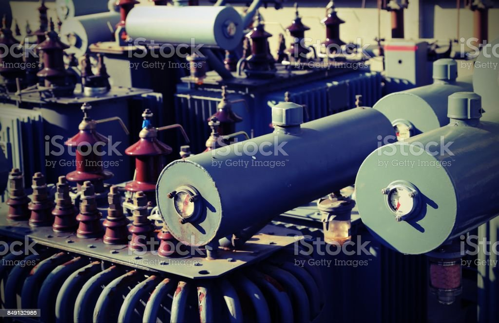 voltage transformers in a polluting and hazardous electrical sto stock photo