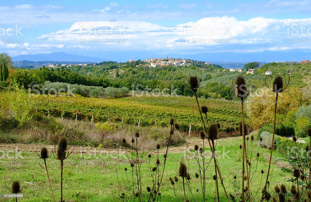 Volterra across a Tuscany Landscape stock photo