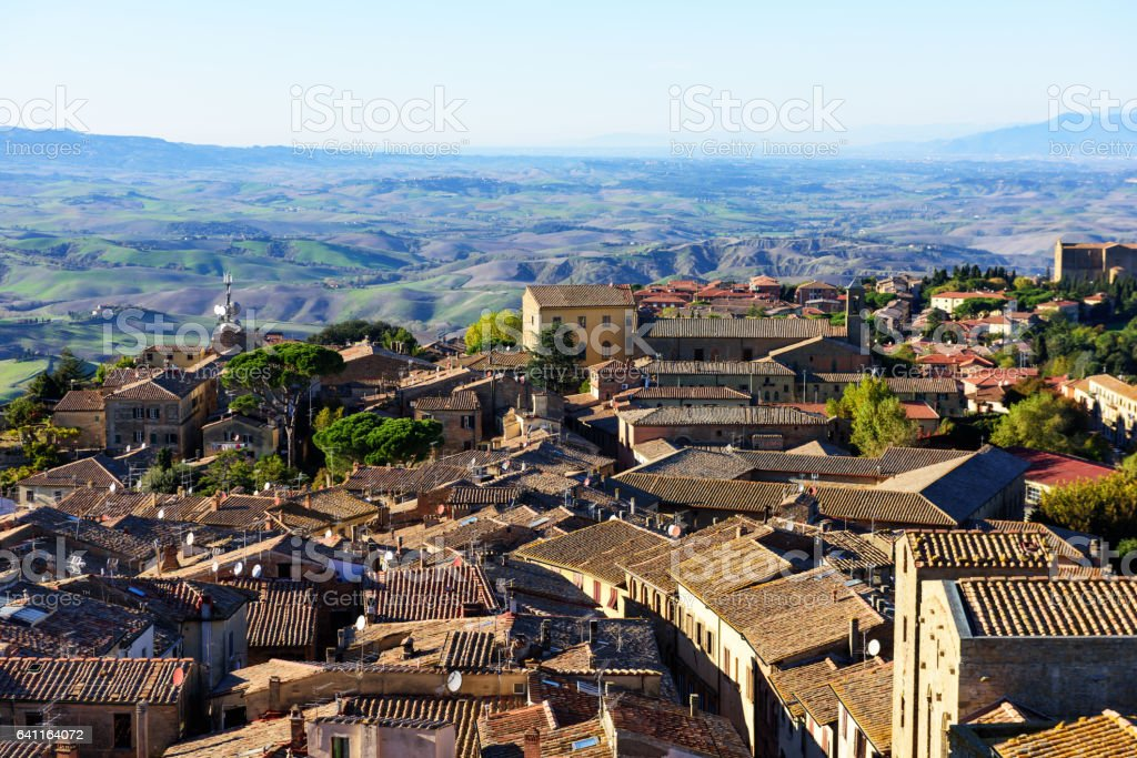 Volterra rooftops and countryside, Italy stock photo