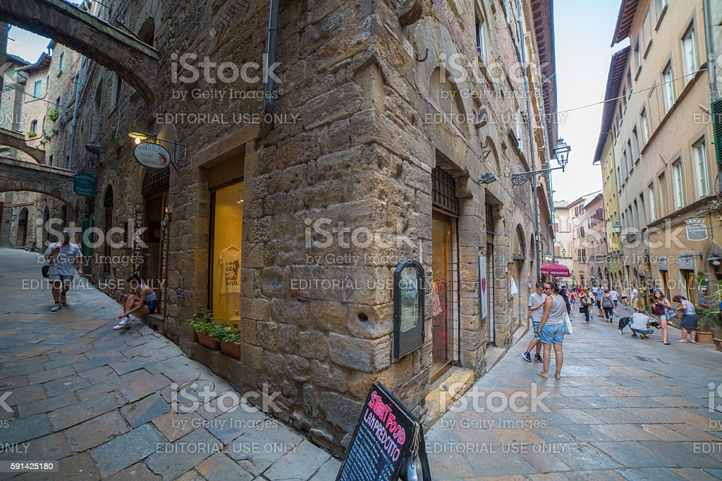 Volterra streets stock photo