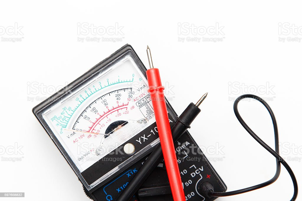 Voltmeter on a white background stock photo
