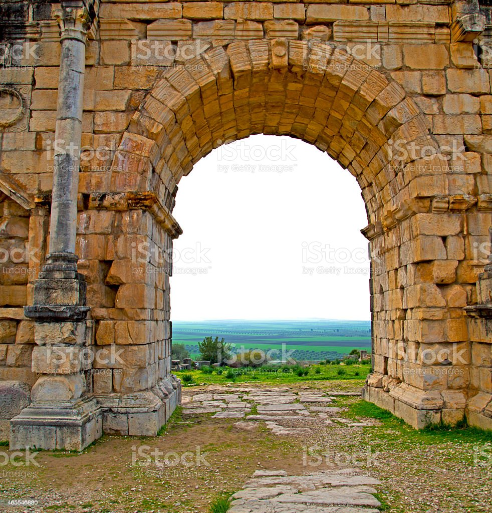 volubilis in morocco africa the old roman deteriorated monument stock photo