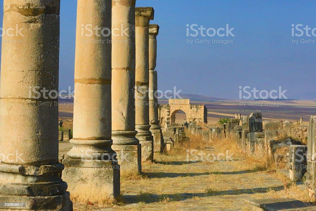 Volubilis Roman Archaelogical site UNESCO Morocco royalty-free stock photo