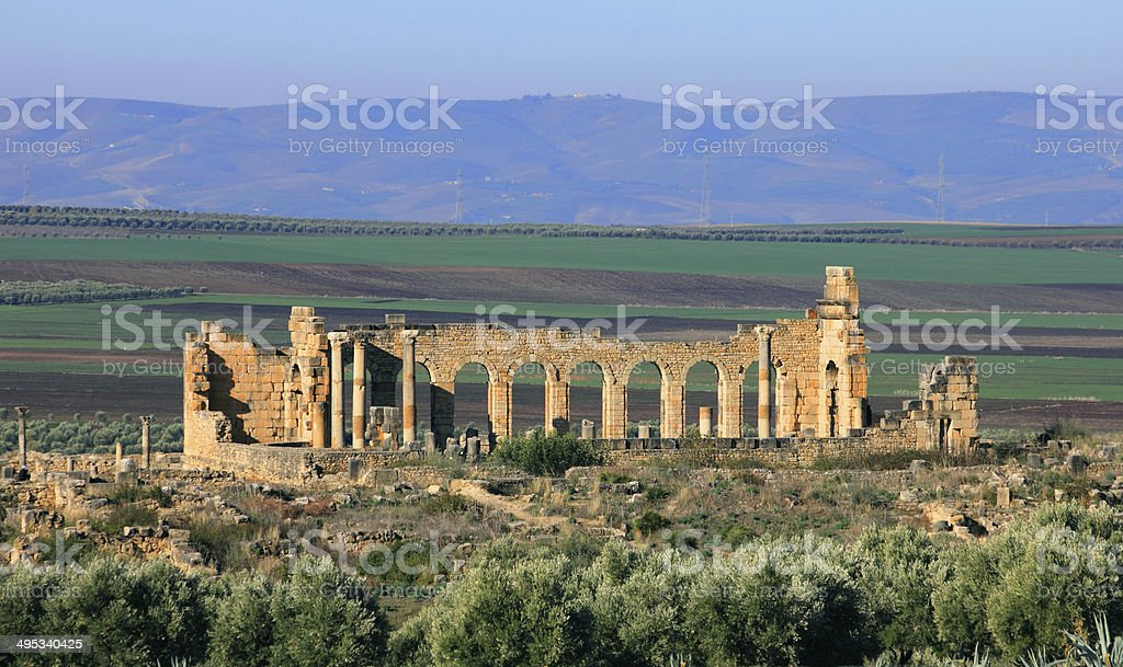 Volubilis - Roman archaeological site. stock photo