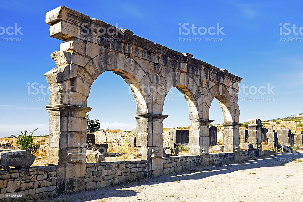 Volubilis - Roman basilica ruins in Morocco, North Africa stock photo