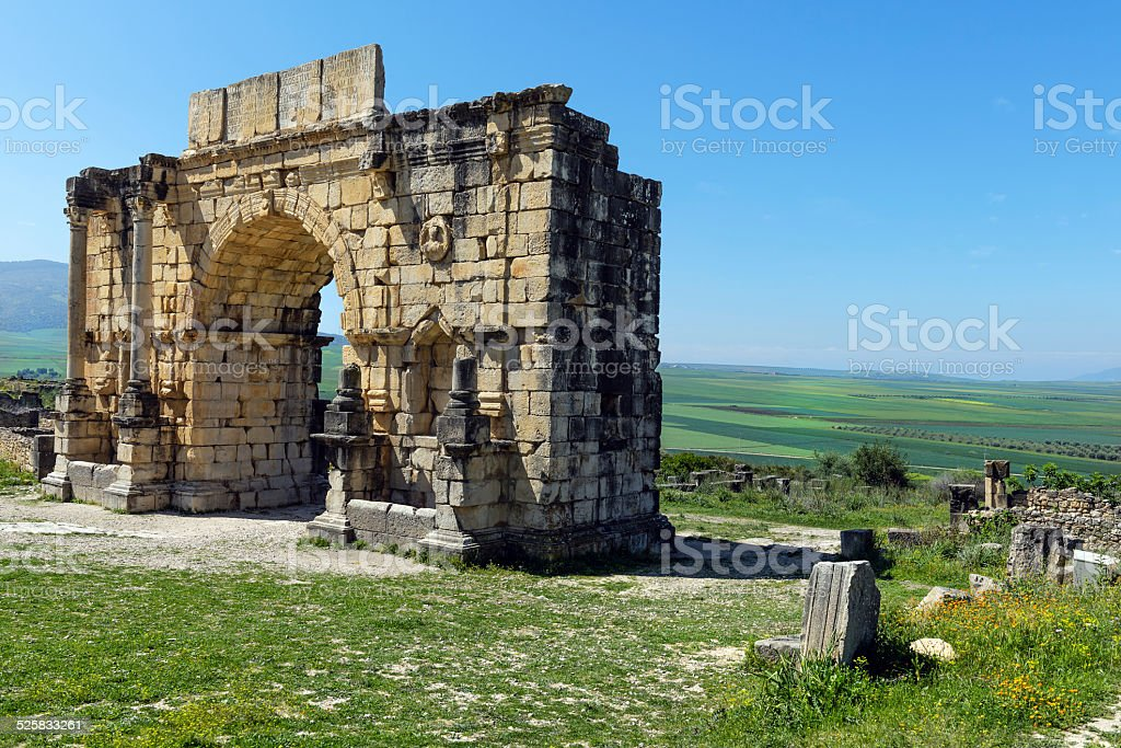 Volubilis Roman Old City, Morocco, Africa stock photo