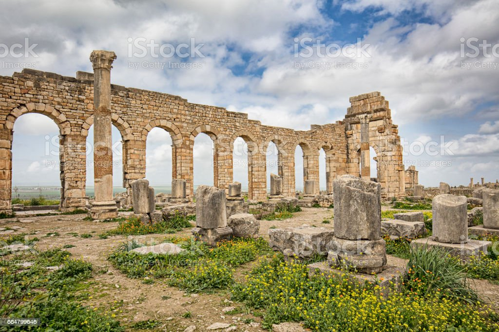 Volubilis Roman Old City stock photo