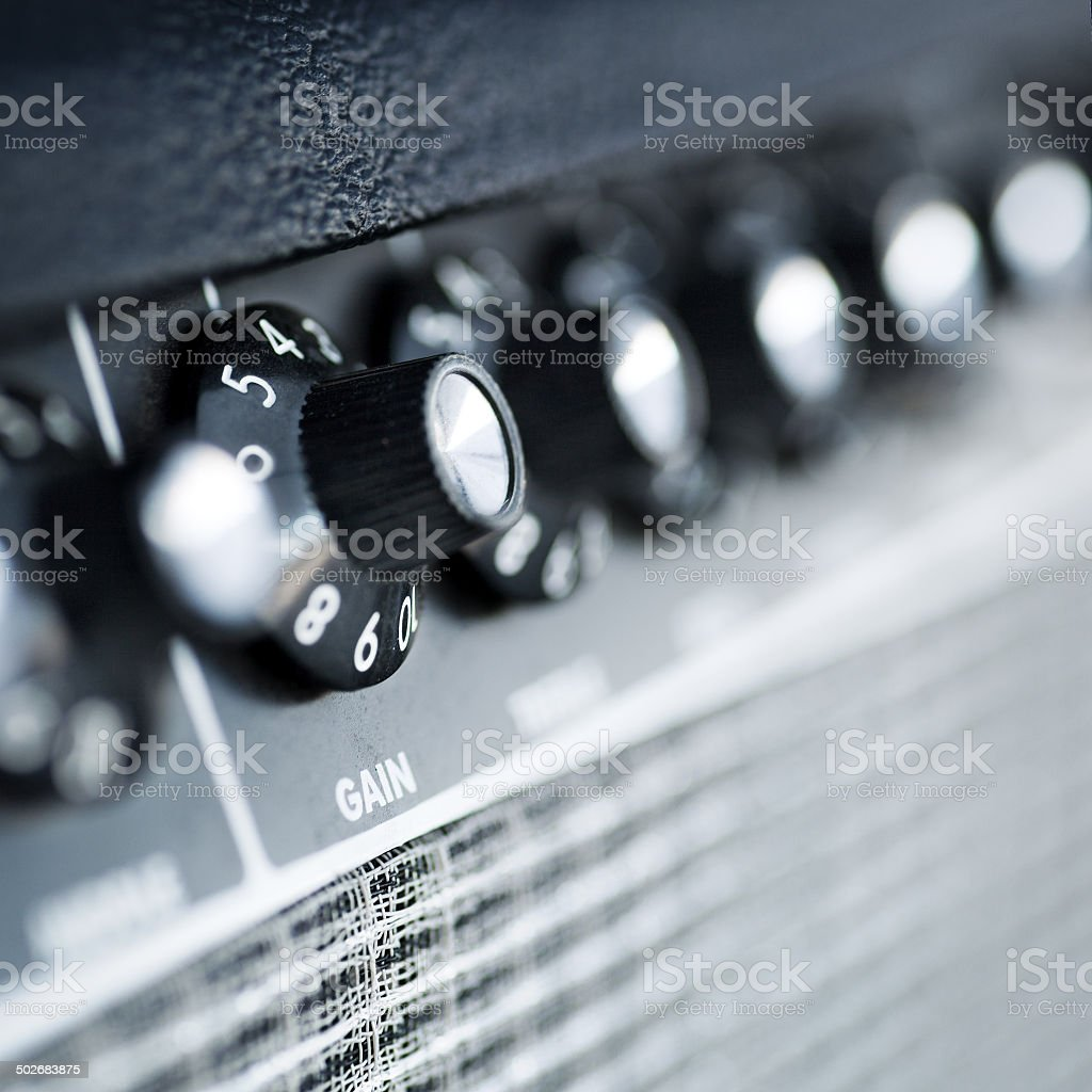 volume button guitar amplifier stock photo