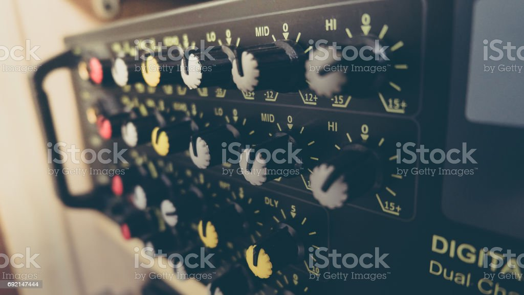 Volume Buttons of Amplifier stock photo