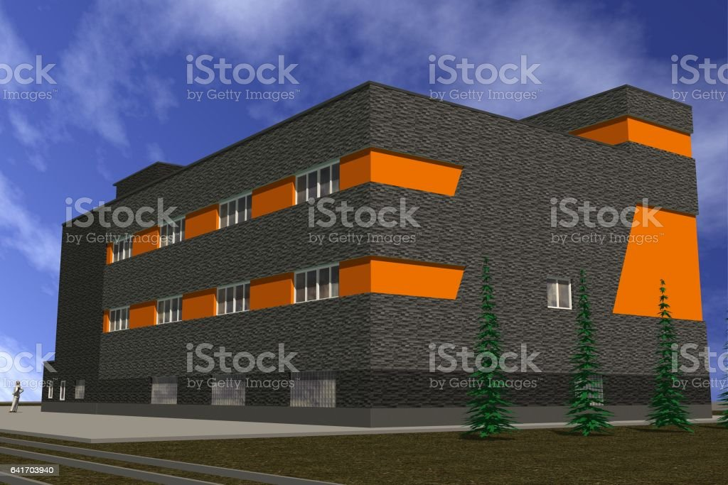 Volume model of the building in the style of Constructivism stock photo
