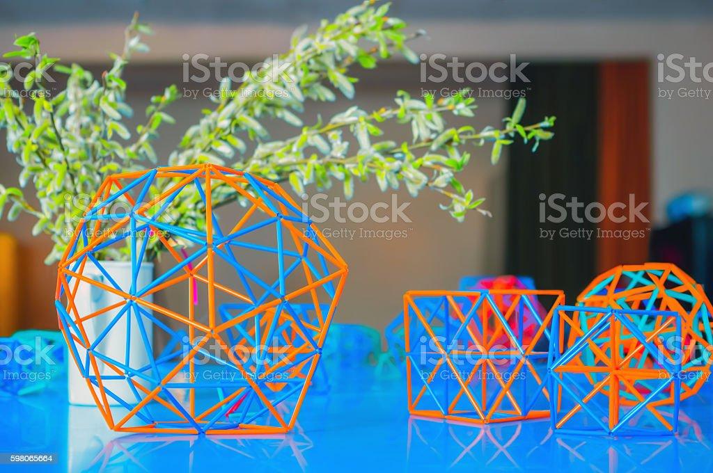 Volumetric Coloured Models of Geometric Solids stock photo
