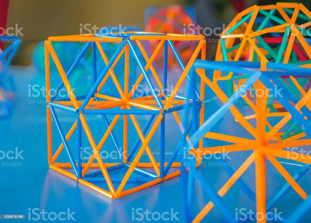 Volumetric model of geometric solids stock photo