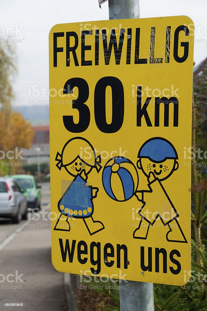 Voluntary speed limit sign royalty-free stock photo