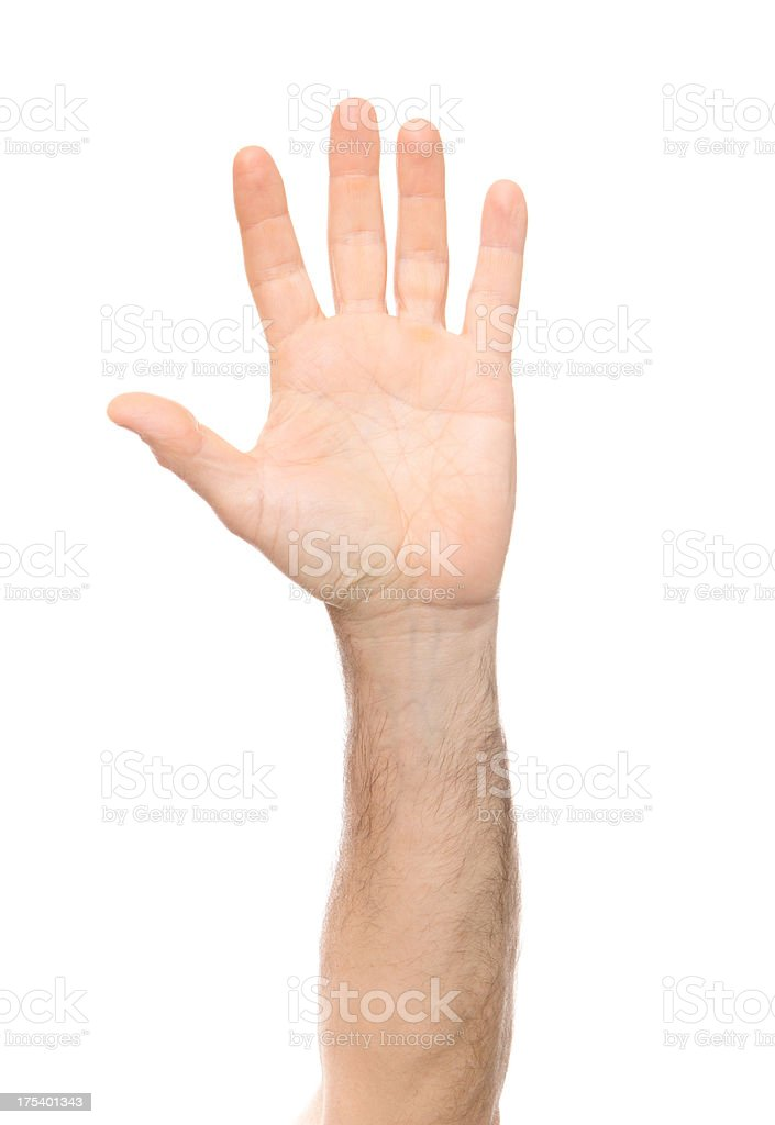 Volunteer arm raised on white background stock photo