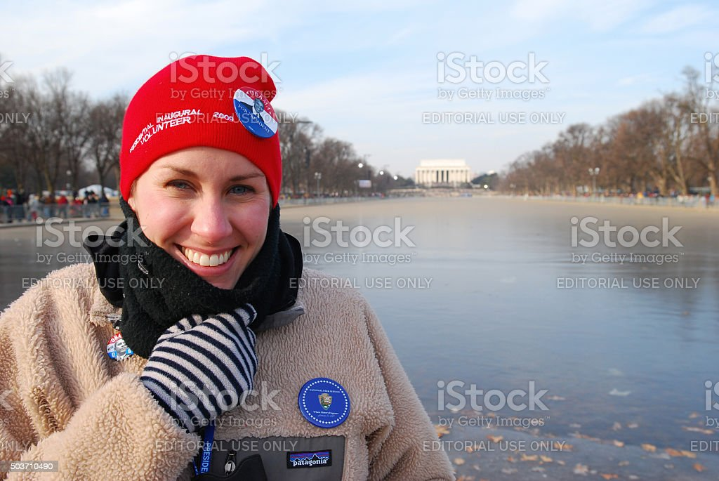 Volunteer at the 2009 Presidential Inauguration of Barack Obama stock photo