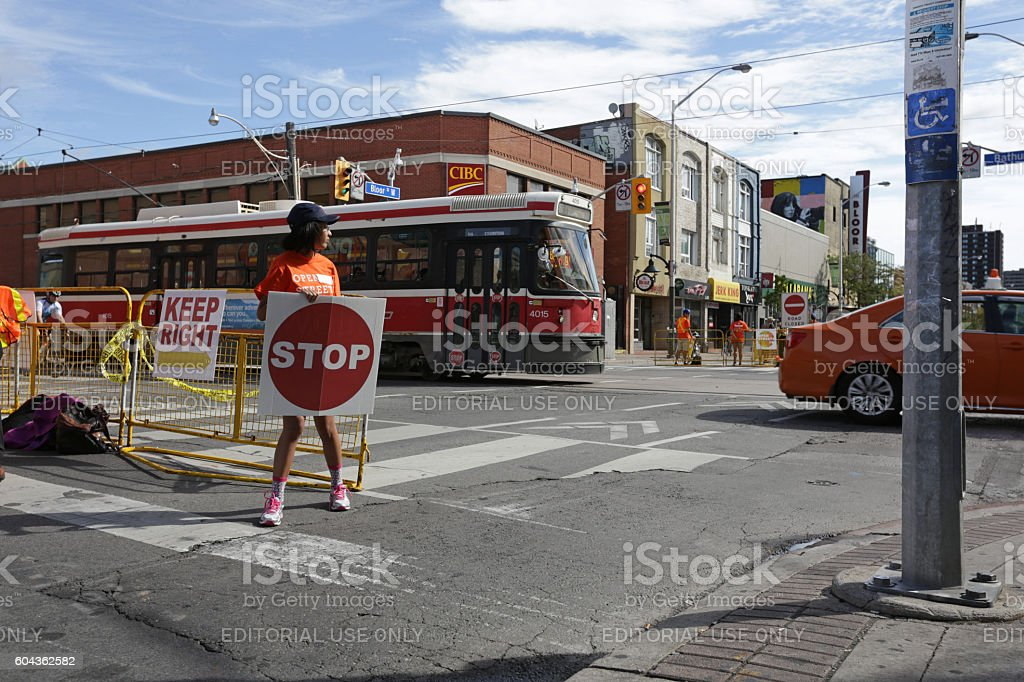 Volunteer at Traffic Intersection, Open Streets TO Event, Toronto, Canada stock photo