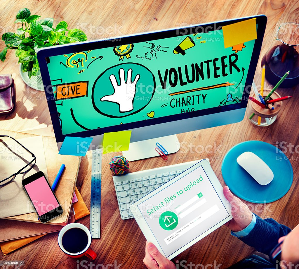 Volunteer Charity Help Sharing Giving Donate Assisting Concept stock photo