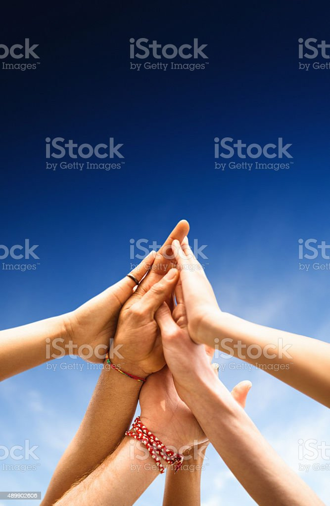 volunteer friends togetherness stock photo
