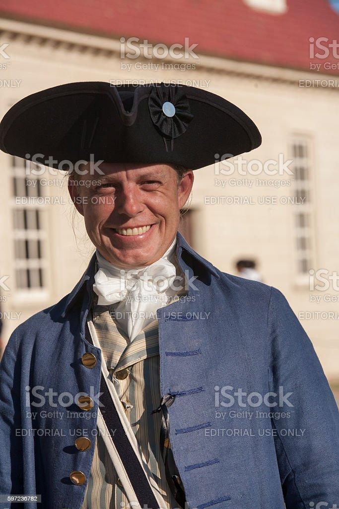 Volunteer impersonator of George Washington's personal secretary Tobias Lear stock photo