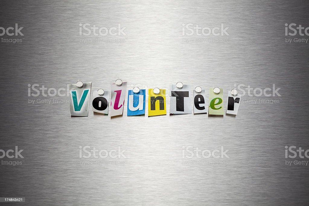 Volunteer On Brushed Metal royalty-free stock photo