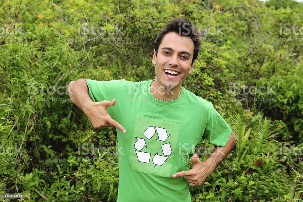 volunteer wearing recycling shirt stock photo