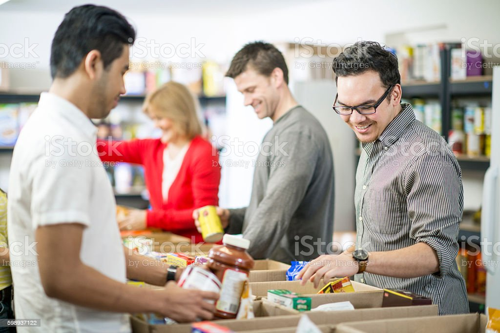 Volunteering Time at a Homeless Shelter stock photo