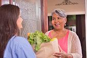 Volunteerism: Senior adult woman receives groceries at home.