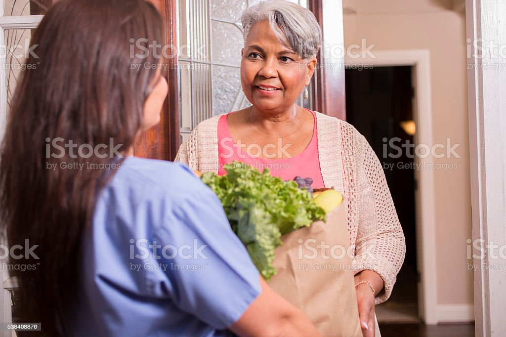 Volunteerism: Woman delivers groceries to senior adult woman at home. stock photo