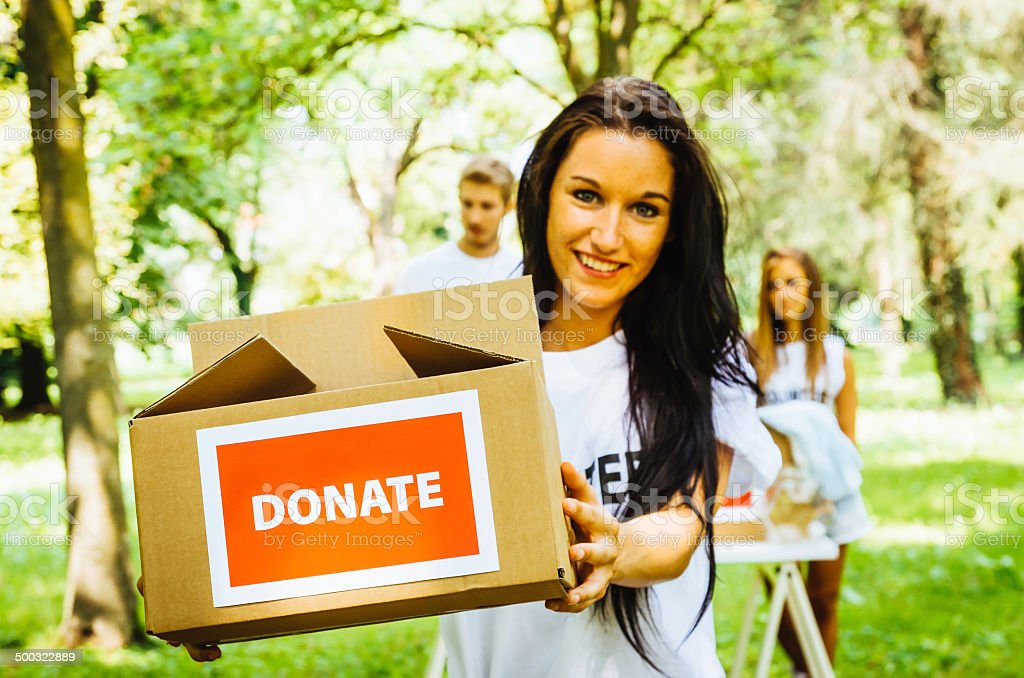 Volunteers Asking For Donations stock photo