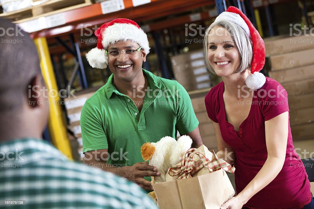 Volunteers collecting donations at Christmas stock photo