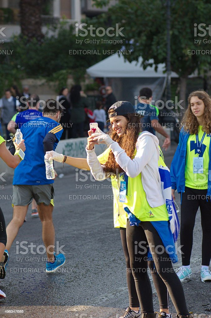 Volunteers during The 33rd Athens Classic Marathon stock photo