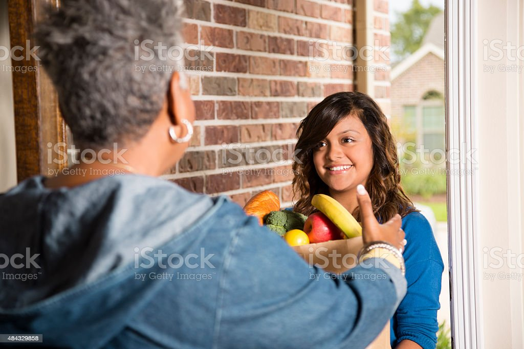Volunteers:  Young adult brings groceries to senior woman at home. stock photo