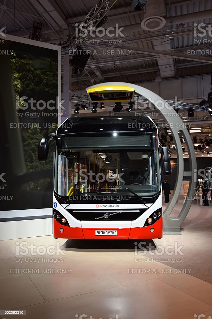 Volvo 7900 Electric Hybrid on the motor show stock photo