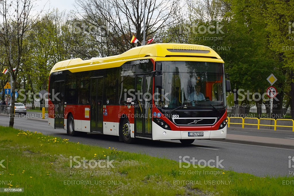 Volvo 7900 Hybrid driving on the street stock photo