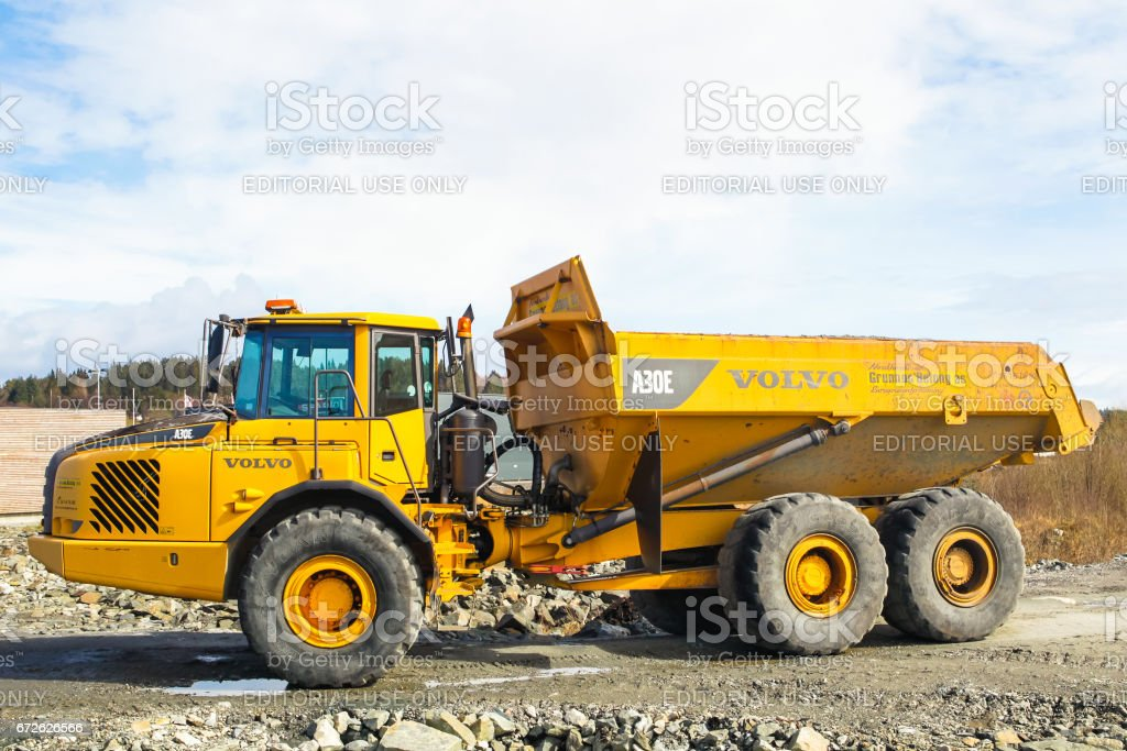 MONGSTAD, NORWAY - APRIL 22, 2017: Volvo A30E Articulated Dump Truck at the building site near Mongstad Norway stock photo