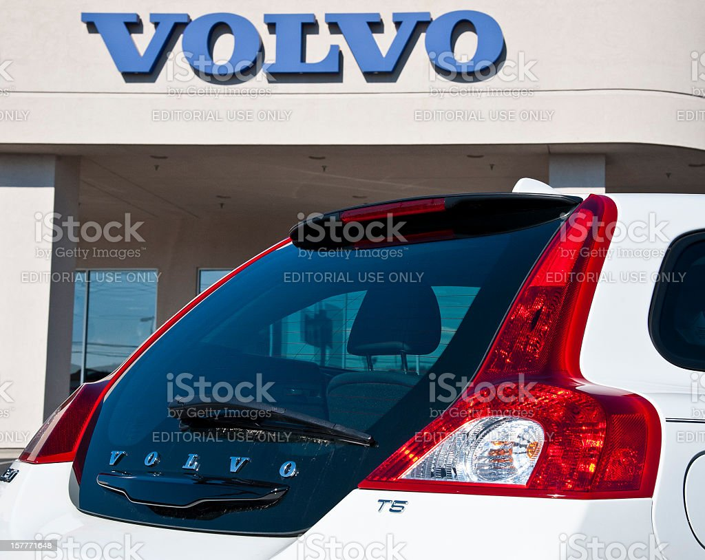 Volvo Automobile and Sign Detail stock photo