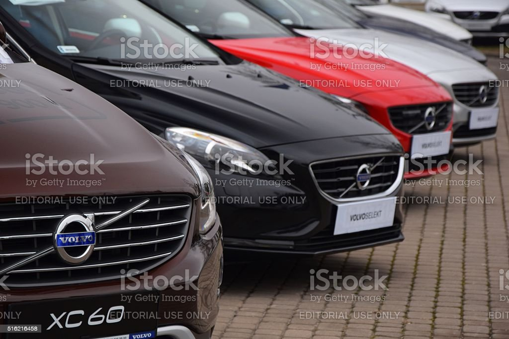 Volvo cars in a row stock photo