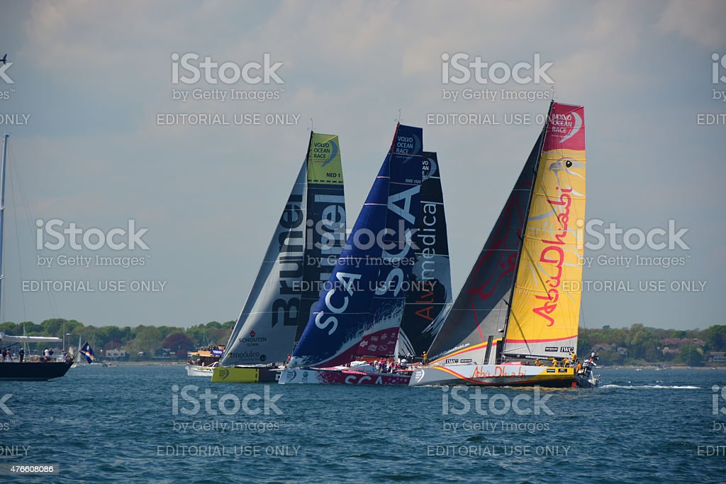 Volvo Ocean Race Boat at the start stock photo