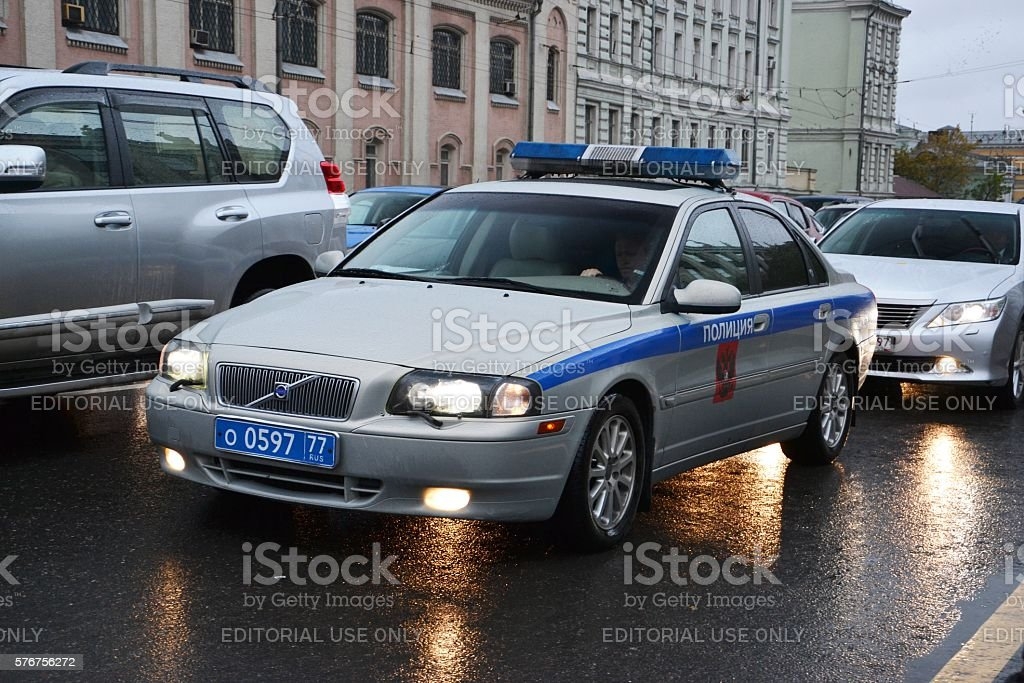Volvo police car on the Moscow street stock photo