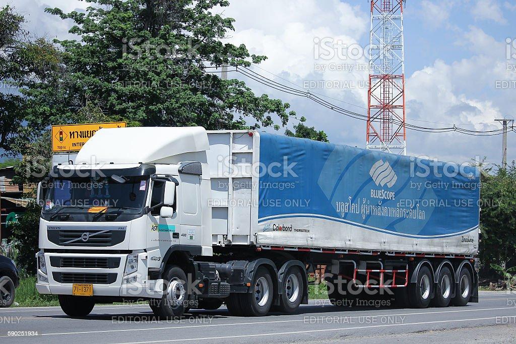 Volvo Trailer Cargo truck of  AST Transport. stock photo