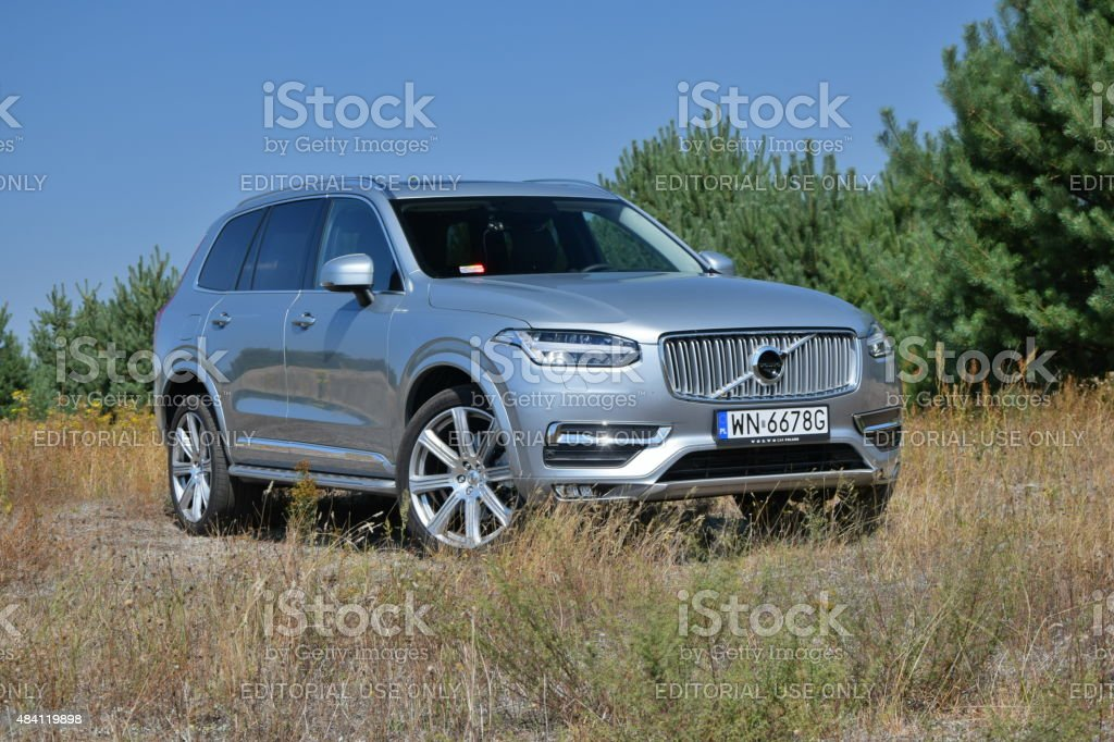 Volvo XC90 on the unmade road stock photo