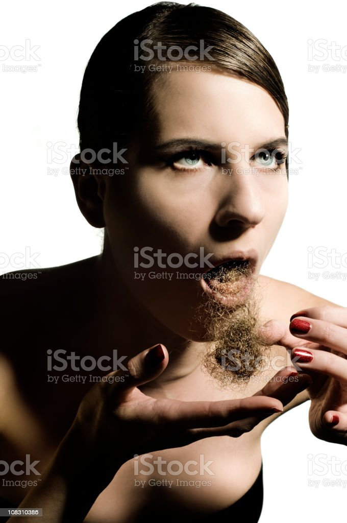 vomiting a hair ball stock photo