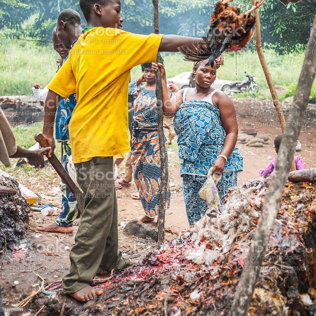 Voodoo action. Benin, West Africa. stock photo