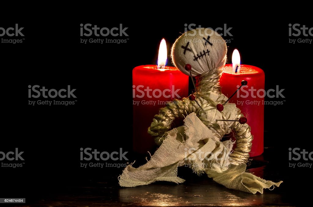 Voodoo doll in Advent stock photo