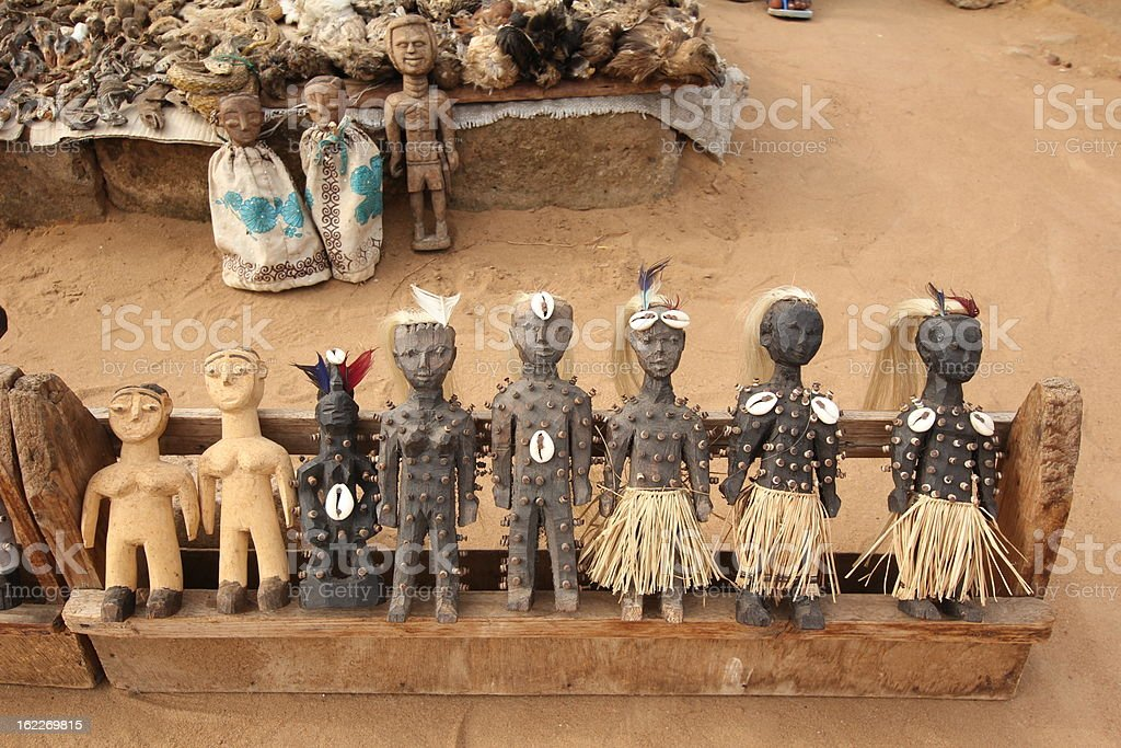 Voodoo Dolls at the Fetish market in Lom?, Togo royalty-free stock photo