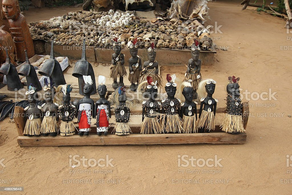 Voodoo Dolls at the Fetish market in Lomé, Togo stock photo