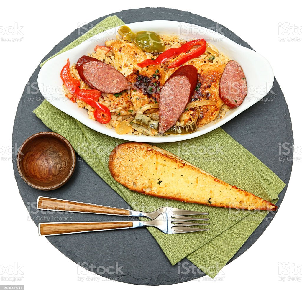 Voodoo Spicy Cajun Chicken and Sausage with Rice stock photo