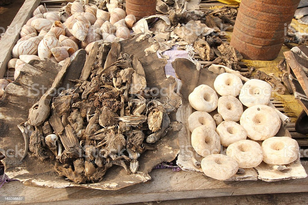 Voodoo Supplies at  Akodessewa Fetish Market, West Africa stock photo