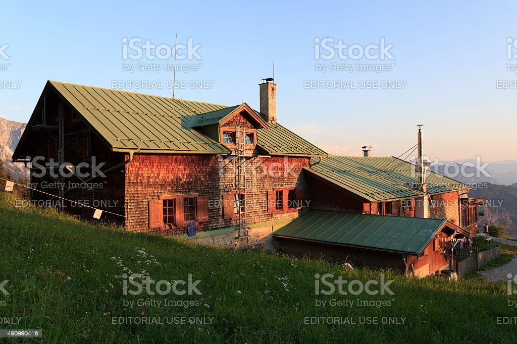 Vorderkaiserfelden hut stock photo